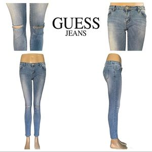 Like New Guess Jeans Light Wash Distressed Jeans